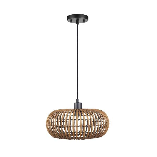 Novogratz X Globe Electric Trancoso Satin Brown Bohemian/global Oval Standard Medium (10-22 Inches) Pendant Light