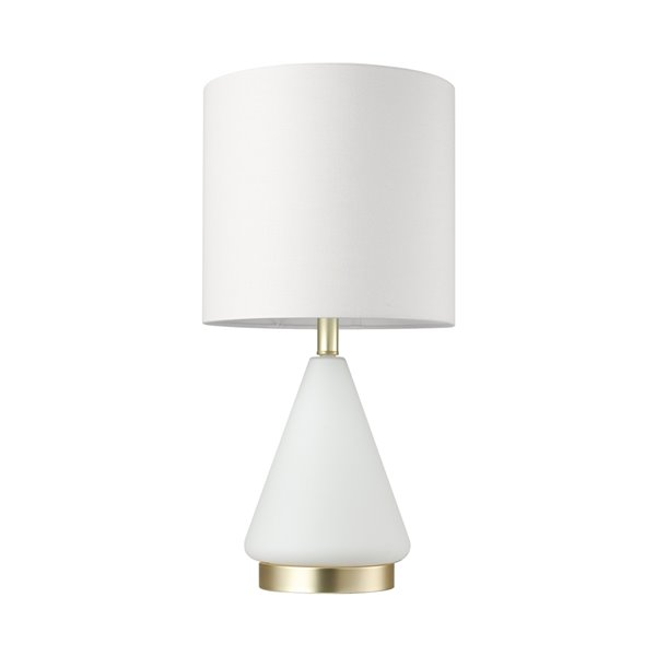 Novogratz X Globe Electric Robertson 23-in Matte White Standard Rotary Socket Standard Table Lamp With Fabric Shade