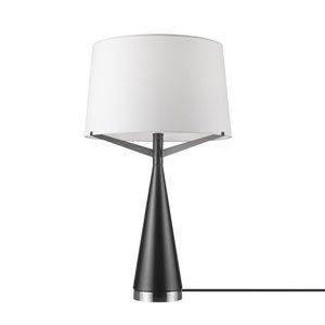 Novogratz X Globe Electric Levon 24-in Satin Brown Standard Rotary Socket Standard Table Lamp With Fabric Shade