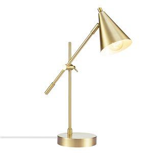 Novogratz X Globe Electric Tacoma 19.82-in Adjustable Matte Gold On/Off Switch Standard Desk Lamp with Metal Shade