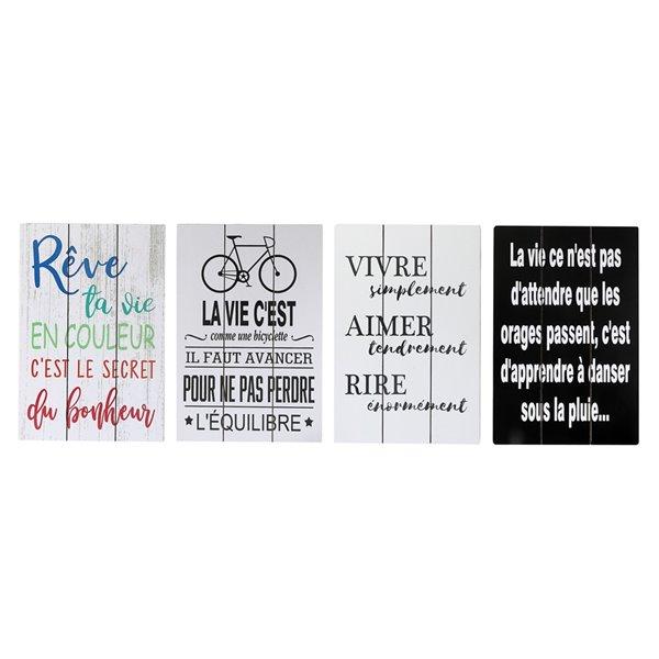 Enseignes inspirantes en bois en français de 17,7 po h. x 11,8 po l. par IH Casa Decor, ens. de 4