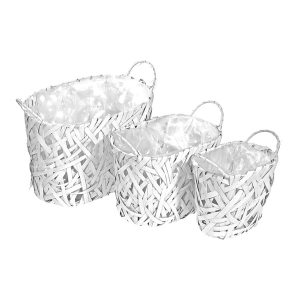 Pot de fleurs oval en osier blanc, 3 pièces, 9,45 po x 9,45 po de IH CASADECOR