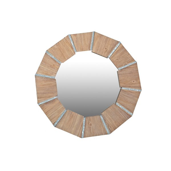Miroir octogonal taupe de 31,75 po par IH Casa Decor