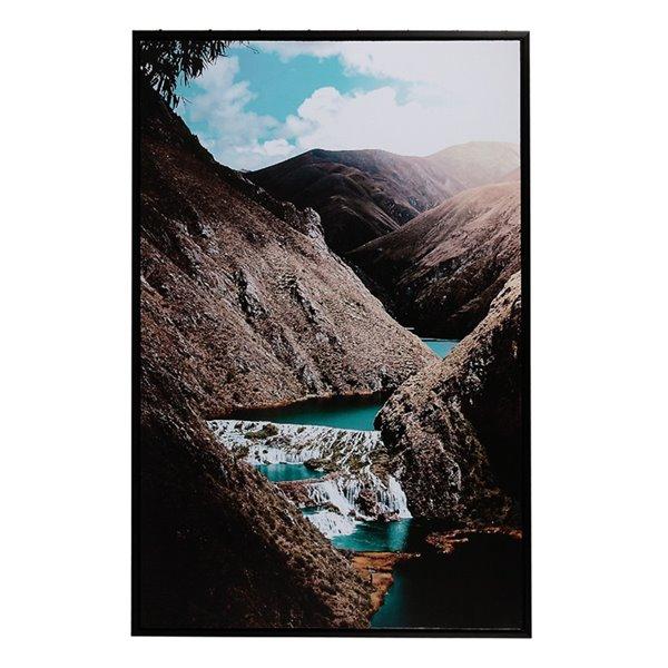 Tableau imprimé de rivière entre les montagnes avec cadre noir de 36 po h. x 24 po l. par IH Casa Decor