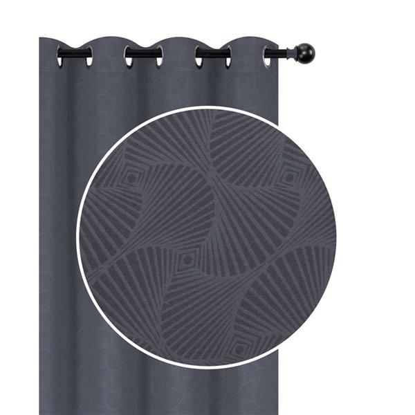 Panneaux de rideau gris à motifs de coquille de 54 po x 84 po assombrissants sans fil par IH Casa Decor, ens. de 2