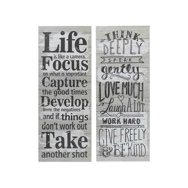 Tableaux imprimés en bois avec citations inspirantes de 29,9 po h. x 11,8 po l. par IH Casa Decor, ens. de 2