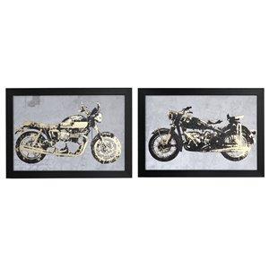 Tableaux imprimés moto avec cadres noirs de 19,7 po h. x 25,55 po l. par IH Casa Decor, ens. de 2