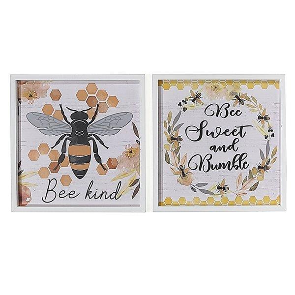Tableaux imprimés abeilles avec cadres en bois blanc de 11,8 po h. x 11,8 po l. par IH Casa Decor, ens. de 2