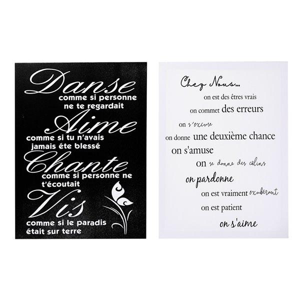 Tableaux imprimés en français de 16 po h. x 12 po l. par IH Casa Decor, ens. de 2