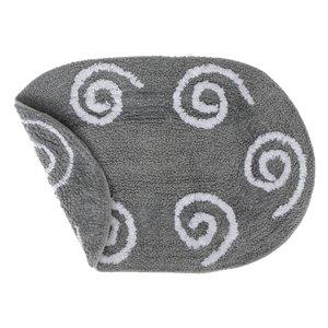 Tapis de bain réversibles ovales gris en coton avec tourbillons de 16 po x 24 po par IH Casa Decor - Lot de 2