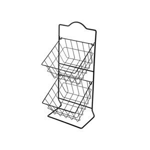 IH Casa Decor 2-Tier Square Metal Basket Stand