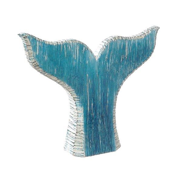 Sculpture en forme de queue de baleine bleue en polyrésine par IH Casa Decor, 9 po