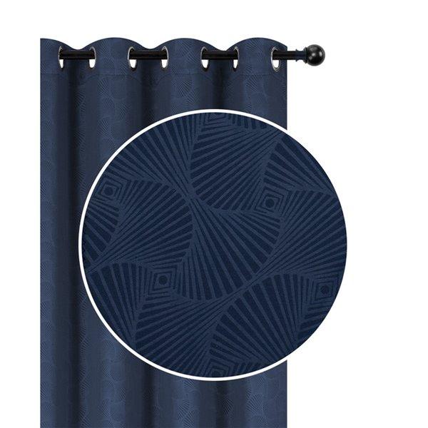 Panneaux de rideau bleu à motifs de coquille de 54 po x 96 po assombrissants sans fil par IH Casa Decor, ens. de 2