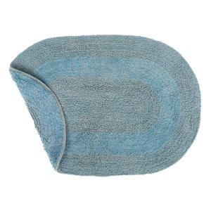 Tapis de bain ovales bleus réversibles en coton de 16 po x 24 po par IH Casa Decor - ens. de 2
