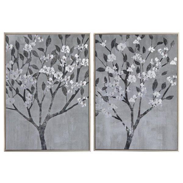 Tableaux imprimés fleurs blanches avec cadres en métal brun de 27,55 po h. x 19,7 po l. par IH Casa Decor, ens. de 2