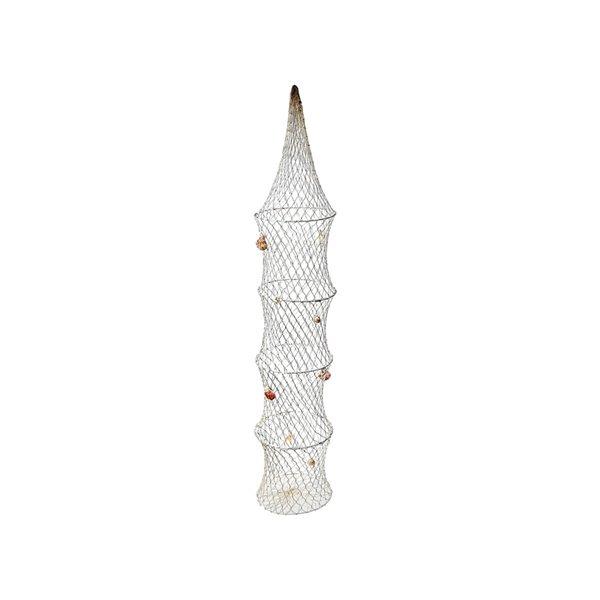 Filet de pêche suspendu avec coquillages en bois de 8 po x 42 po par IH Casa Decor
