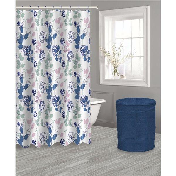 Panier et rideau floral bleu avec 12 crochets par IH Casa Decor