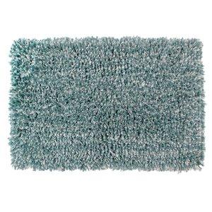 Tapis de bain en microfibre à poils longs bleu et blanc de 20 po x 32 po par IH Casa Decor