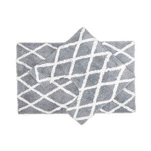 Tapis de bain gris en coton de 20 po x 32 po avec losanges IH Casa Decor - 2 mcx