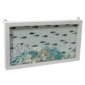 Boîte décorative en bois avec poissons et coquillages par IH Casa Decor