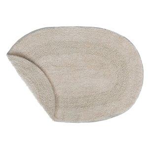 Tapis de bain ovales beiges réversibles en coton de 16 po x 24 po par IH Casa Decor - ens. de 2
