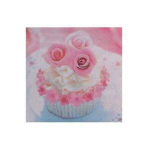 Paquet de 20 serviettes de table à 3 épaisseurs de IH CASADECOR (cupcake Rose) - Ensemble de 6