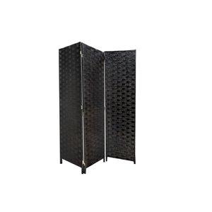 Séparateur de pièce pliant en bambou noir à 3 panneaux de style contemporain/moderne par IH Casa Decor