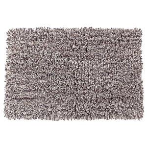 Tapis de bain en microfibre à poils longs gris et blanc de 20 po x 32 po par IH Casa Decor