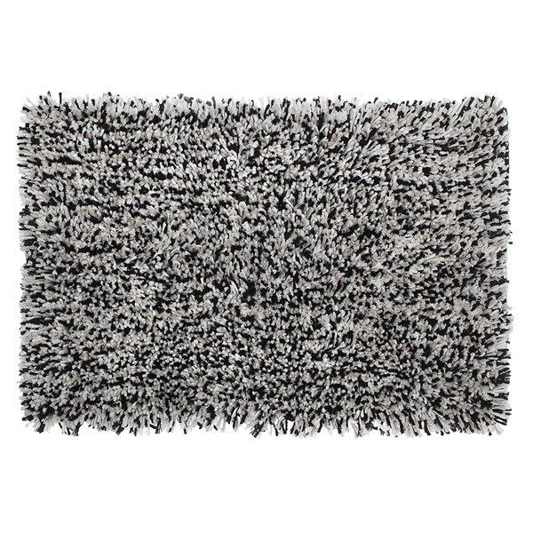Tapis de bain en microfibre à poils longs noir et blanc de 20 po x 32 po par IH Casa Decor