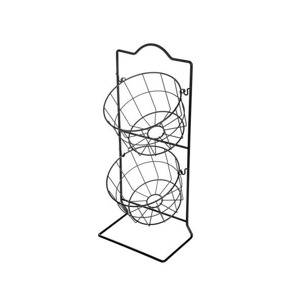 IH Casa Decor 2-Tier Black Round Fruit Basket Stand