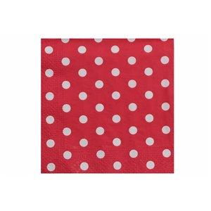 Paquet de 20 serviettes de table à 3 épaisseurs de IH CASADECOR (rouge À Pois) - Ensemble de 6