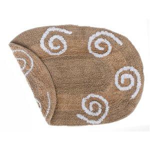 Tapis de bain réversibles ovales taupes en coton avec tourbillons de 16 po x 24 po par IH Casa Decor - Lot de 2