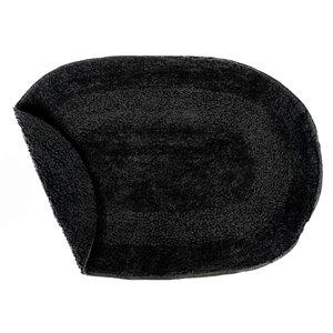 Tapis de bain ovales noirs réversibles en coton de 16 po x 24 po par IH Casa Decor - ens. de 2