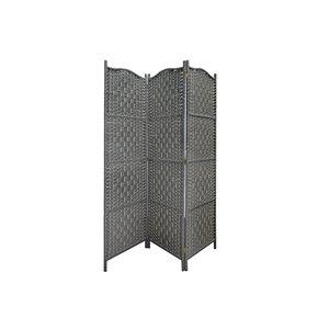Séparateur de pièce pliant en bambou gris à 3 panneaux de style contemporain/moderne par IH Casa Decor