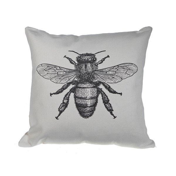 Coussin décoratif carré avec abeille de 18 po l. x 18 po L. par IH Casa Decor, 2 mcx