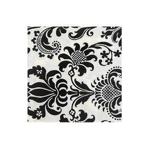 Paquet de 20 serviettes de table à 3 épaisseurs de IH CASADECOR (noir floral) - Ensemble de 6
