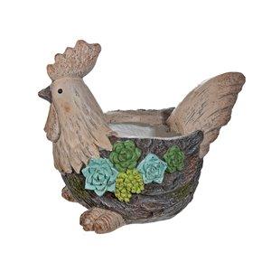 Jardinière décorative en forme de poulet par IH Casa Decor, MgO, 10,65 po