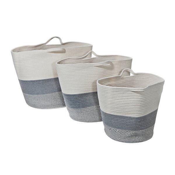 Paniers décoratifs d'IH CASADECOR, matériaux mixtes, 16 po X 16,5 po X 16,5 po, en gris et blanc