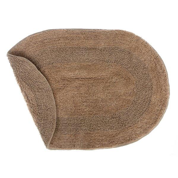 Tapis de bain ovales bruns réversibles en coton de 16 po x 24 po par IH Casa Decor - ens. de 2