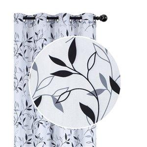 Panneaux de rideau à feuillage noir de 54 po x 84 po assombrissants sans fil par IH Casa Decor, ens. de 2