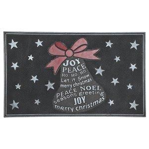 IH Casa Decor Bell Wishes 32-in x 18-in Black Rectangular Rubber Door mat