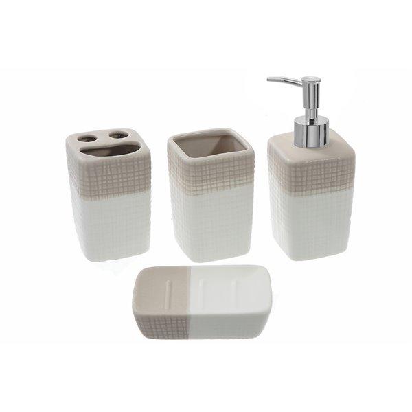 Ensemble d'accessoires de bain en ardoise blanche par IH Casa Decor, 4 mcx