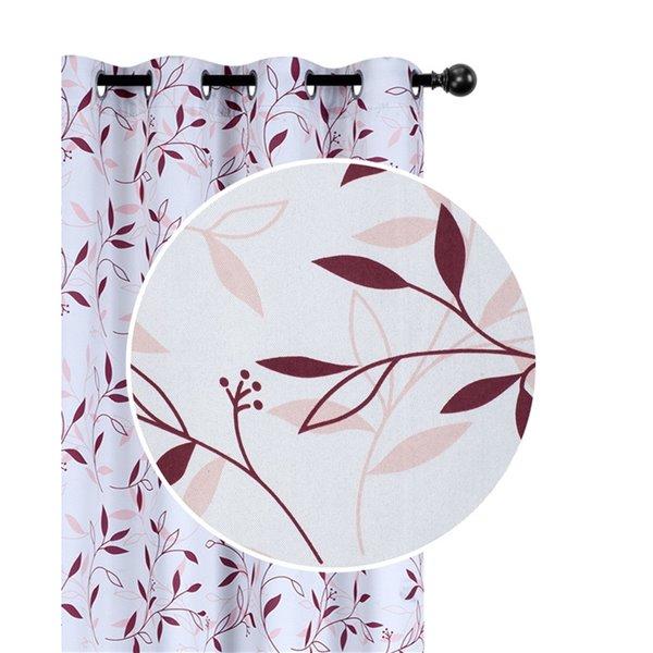 Panneaux de rideau à feuillage bourgogne de 54 po x 84 po assombrissants sans fil par IH Casa Decor, ens. de 2