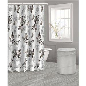 Panier et rideau floral gris avec 12 crochets par IH Casa Decor