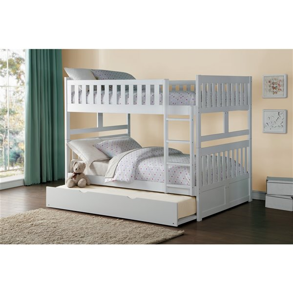 Hometrend Full/Full Bunk Bed with Trundle White