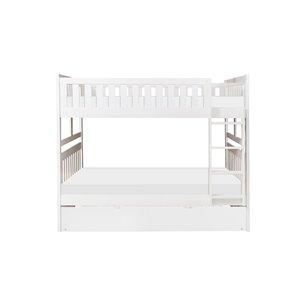 Lit superposé HomeTrend double sur double, blanc, avec lit gigogne