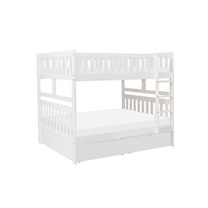 Hometrend Full/Full Bunk Bed with Storage White