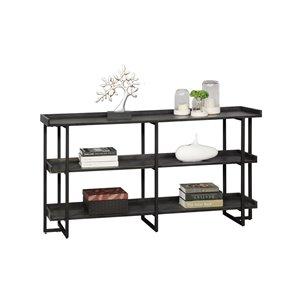 Mazin Furniture Industrials Axel Matte Black Metal 4-Shelf Double Bookcase