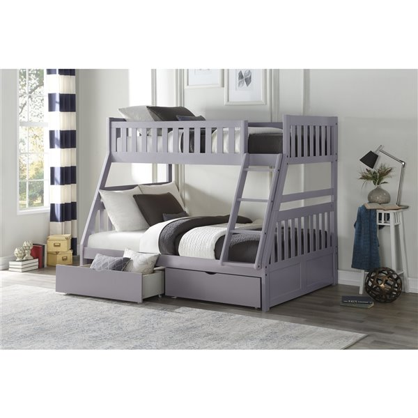 Hometrend Twin/Full Bunk Bed with Storage Grey