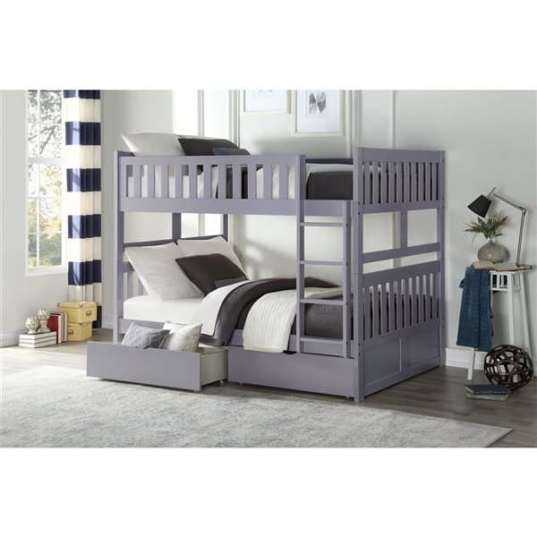 Hometrend Full/Full Bunk Bed with Storage Grey